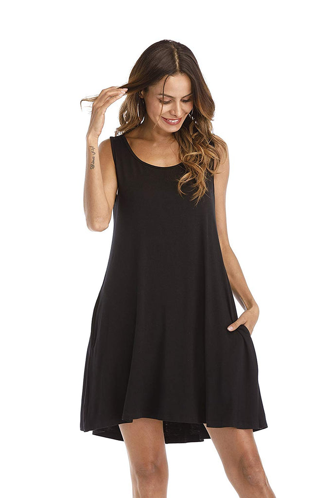 Casual Pockets Plain Flowy Simple Swing Tunic Loose Dress