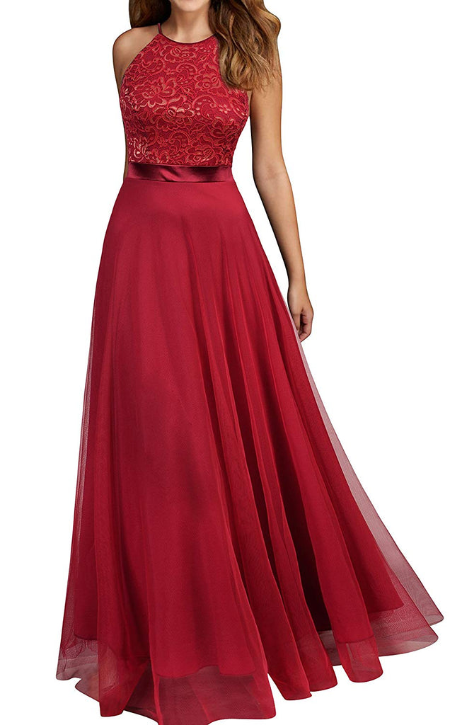 Women's Vintage Lace Evening Party Wedding Long Dress