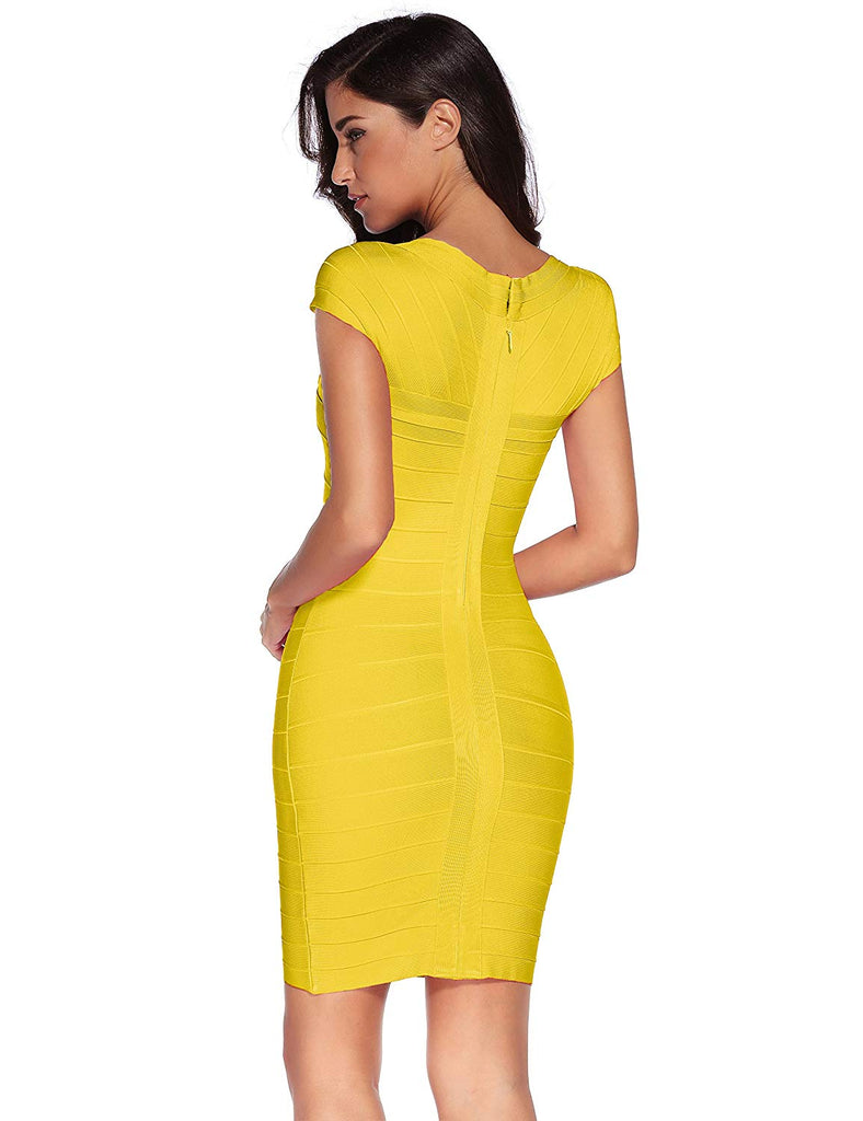 Women's Bandage Dress Square Neck Bodycon Party Dress