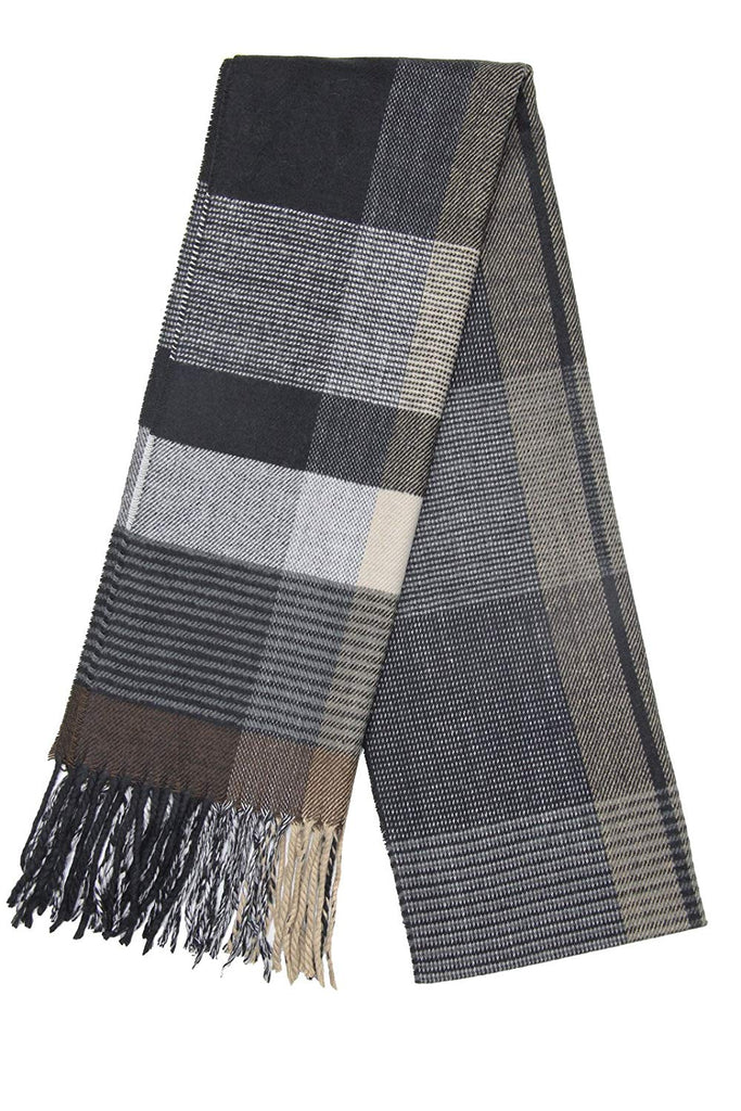 Men's Cashmere Feel Tartan Plaid Checked Winter Warm Scarf