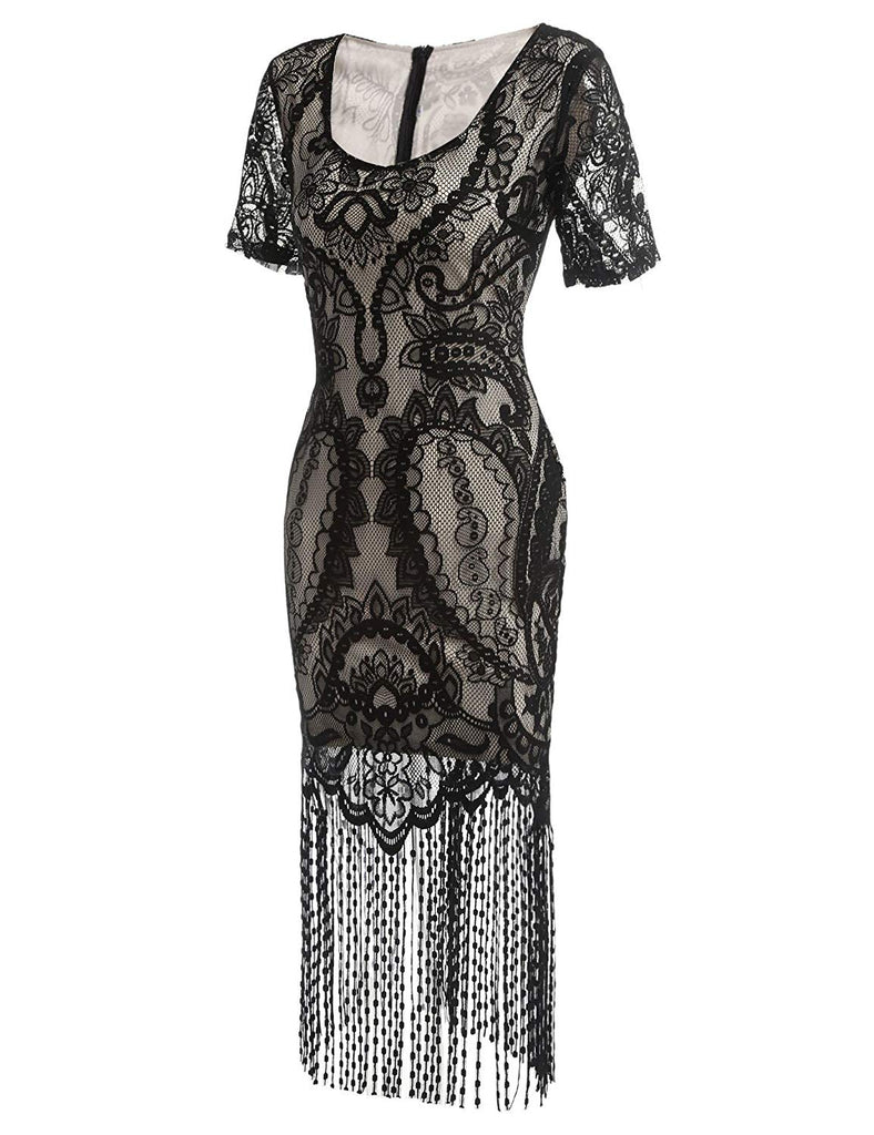 Women's Flapper Dresses Vintage 1920s V Neck Beaded Fringed Lace Tassels Hem Flapper Great Gatsby Dress