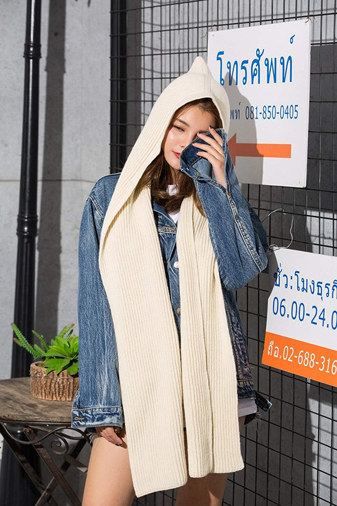 Parent-child Winter Knit Hooded Scarf Headscarf Neck Warmer Hoodie Hat