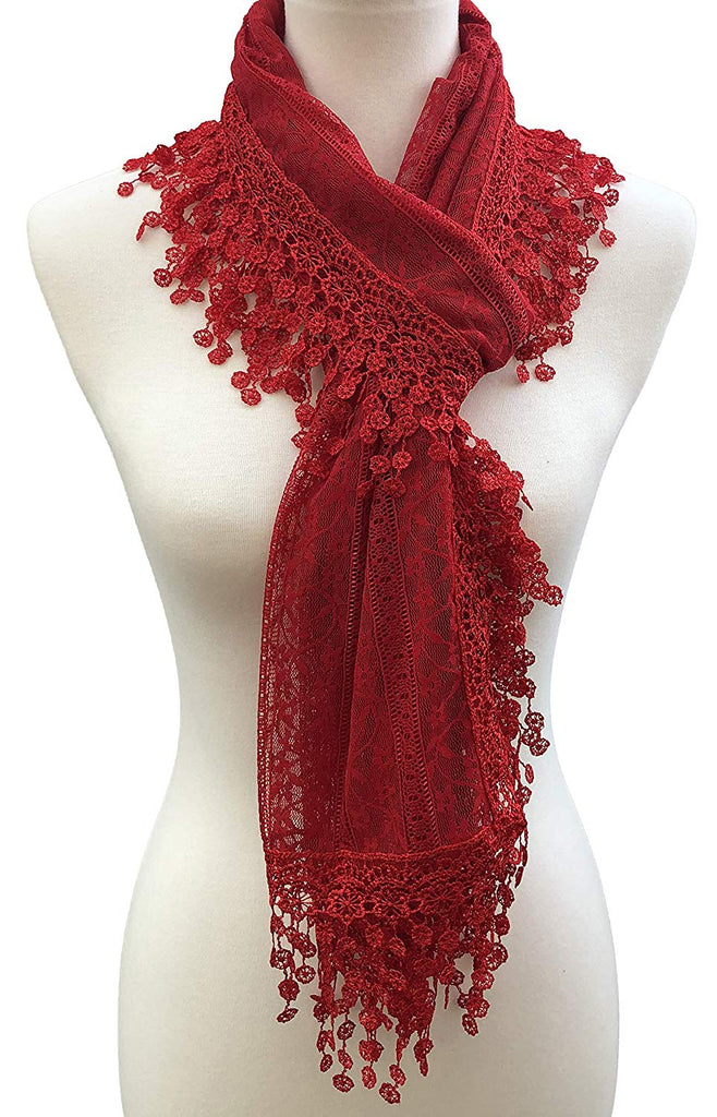 and Wendy Lightweight Soft Leaf Lace Fringes Scarf shawl for Women