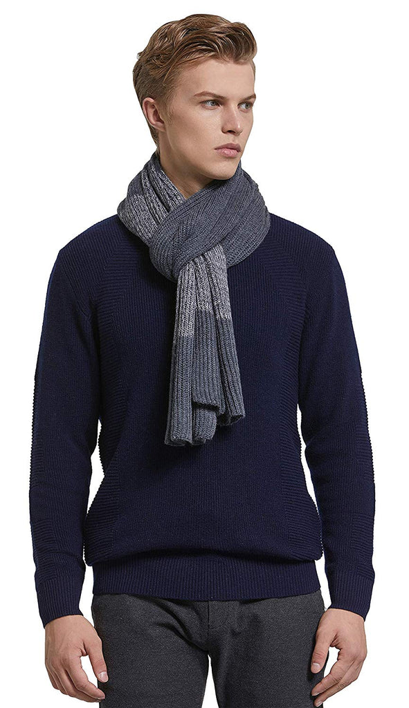 Men's Winter Cashmere Feel Australian Merino Wool Soft Warm Knitted Scarf with Gift Box