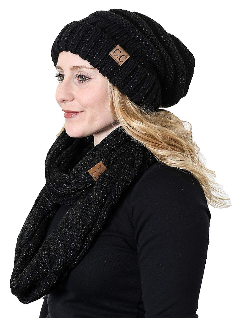 Oversized Slouchy Beanie Bundled with Matching Infinity Scarf
