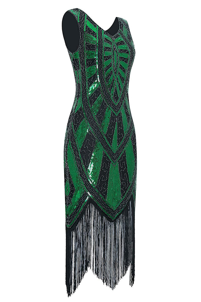 1920s Vintage Inspired Fringe Embellished Gatsby Flapper Midi Dress Prom Party
