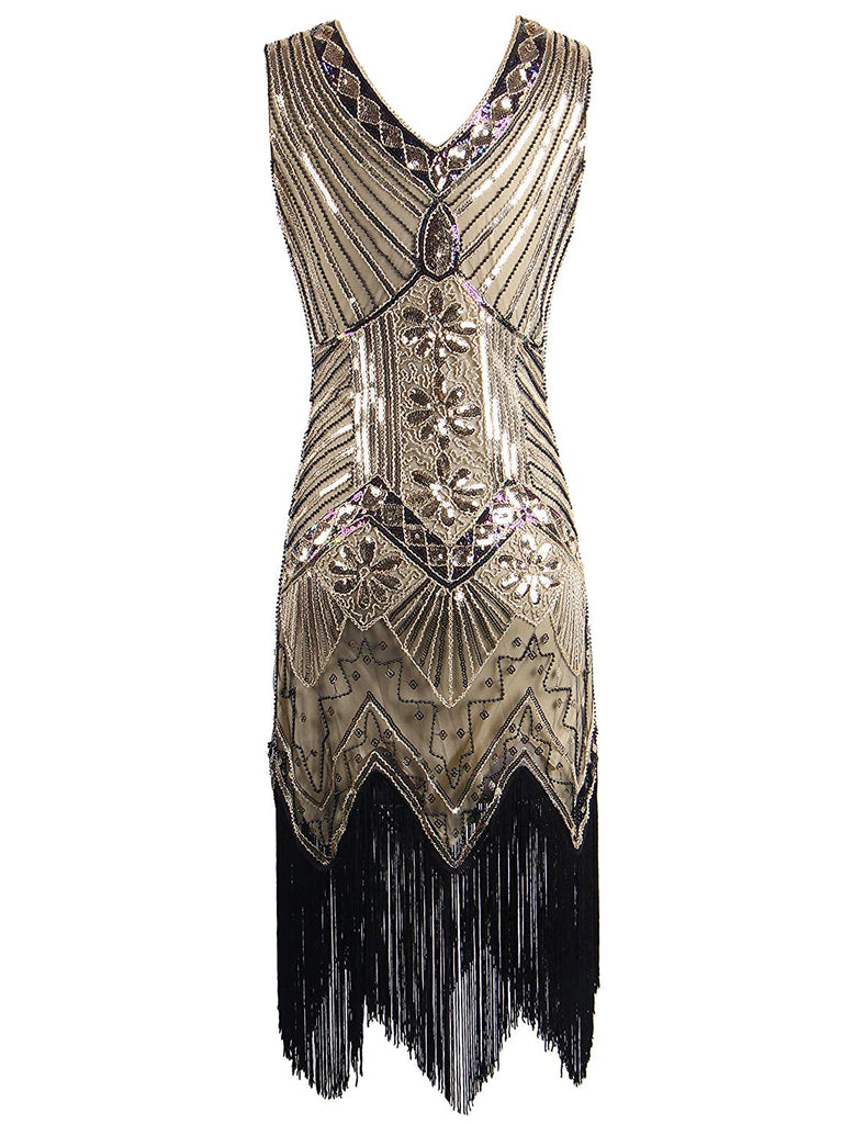 1920s Sequined Vintage Dress Beaded Gatsby Flapper Evening Dress Prom