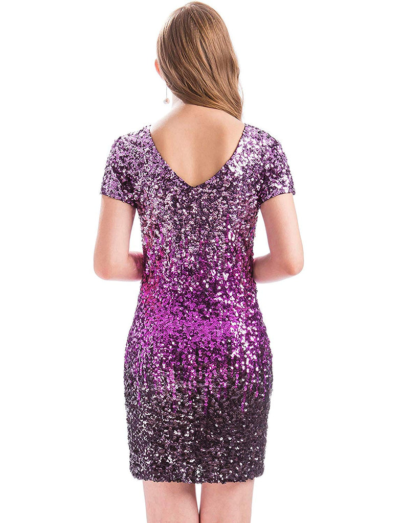 Women's Sequin Glitter Short Sleeve Dress Sexy V Neck Mini Party Club Bodycon Gowns