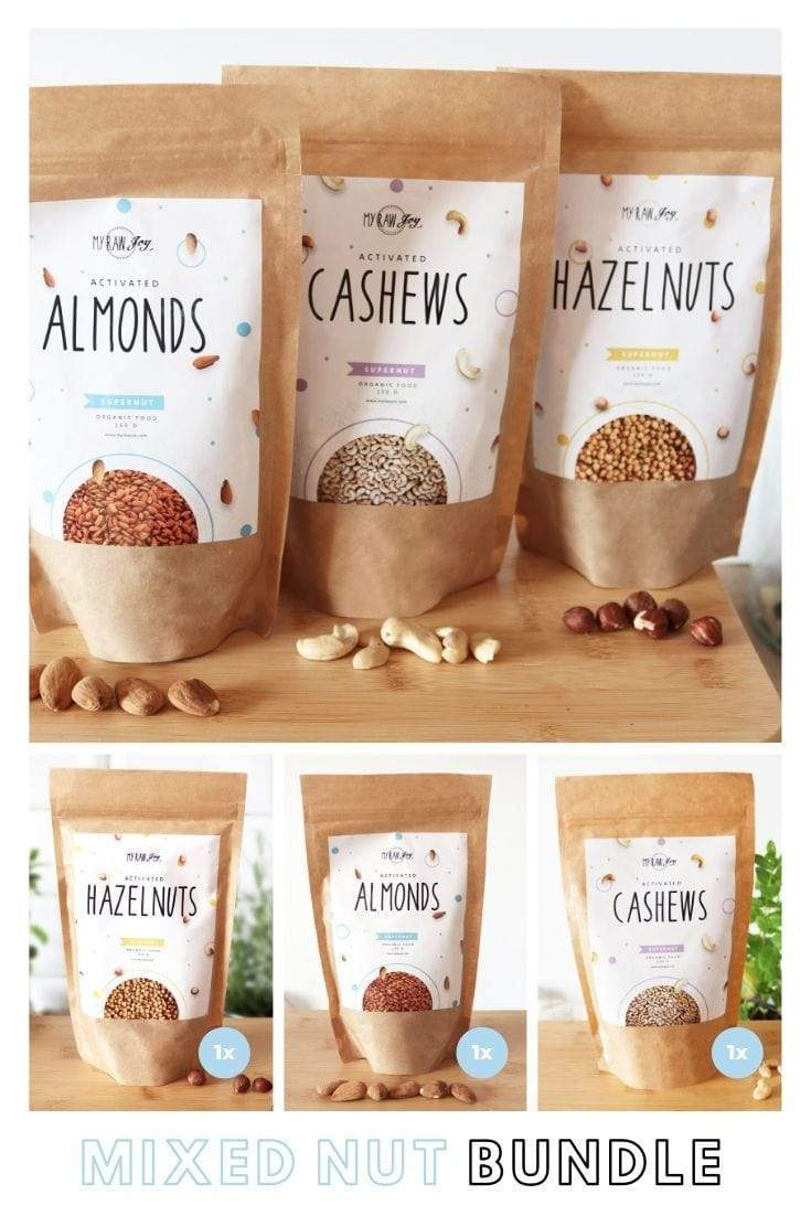 Activated Cashew Supernut Bites SuperNut Bites MyRawJoy Mixed Nut Bundle= 1x each flavour (3 bags)
