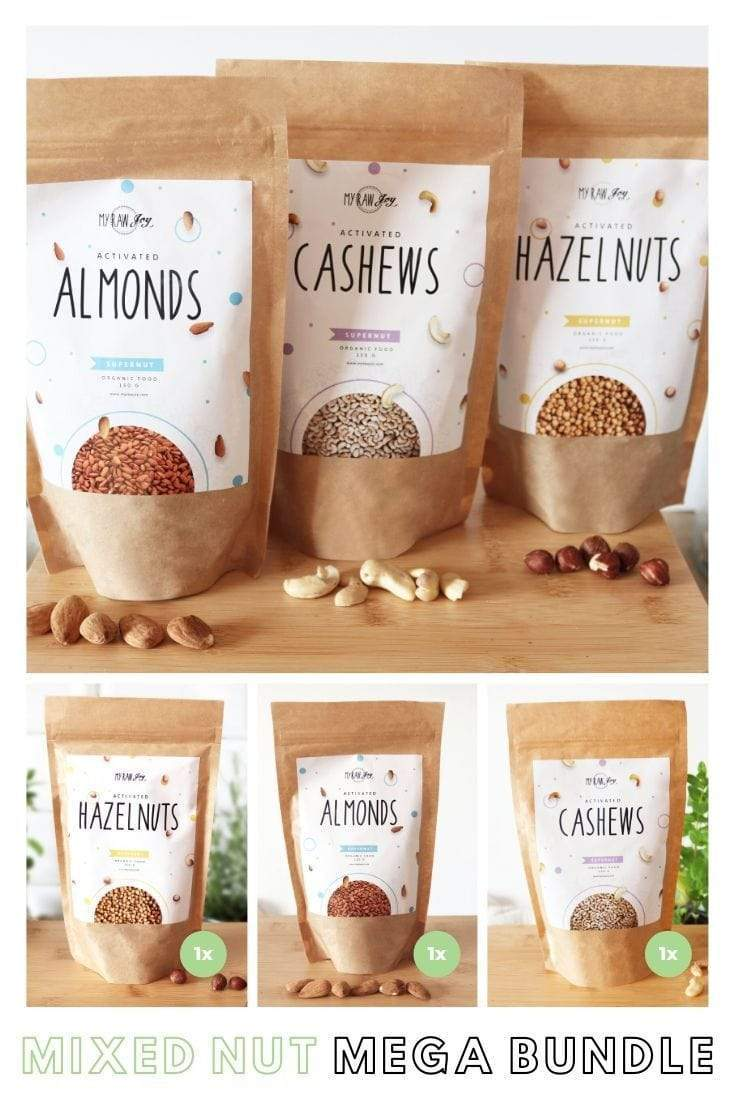 Activated Cashew Supernut Bites SuperNut Bites MyRawJoy Mixed Nut Mega Bundle= 2x each flavour (6 bags)