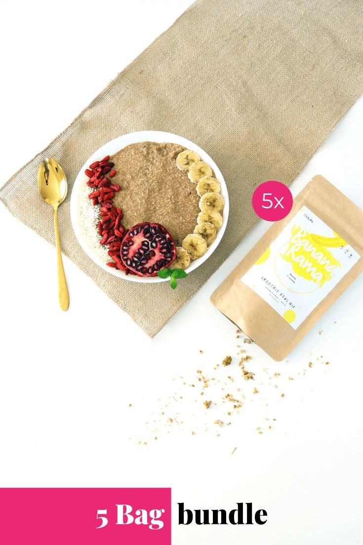 Bananarama Smoothie Bowl + Porridge Topping Smoothie Bowls Mix + Porridge Toppings MyRawJoy 5 Bag Bundle deal | €8.71 per bag