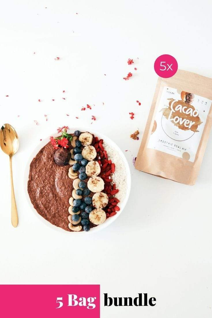 Cacao Lover Smoothie Bowl + Porridge Topping Smoothie Bowls Mix + Porridge Toppings MyRawJoy 5 Bag Bundle deal | €8.71 per bag
