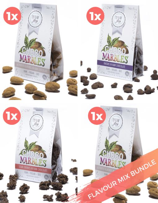 Choco Marbles - Sour Cherries Choco Marbles MyRawJoy FLAVOUR MIX BUNDLE | 4 BAGS - 1 OF EACH FLAVOUR | €2.83 PER BAG
