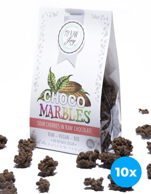 Choco Marbles - Sour Cherries Choco Marbles MyRawJoy 10 Bag Bundle Deal | €2.77 per Bag