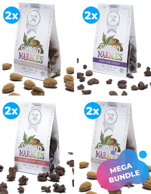 Choco Marbles - Sour Cherries Choco Marbles MyRawJoy MEGA MIX | 8 BAGS - 2 OF EACH FLAVOUR | €2.77 PER BAG