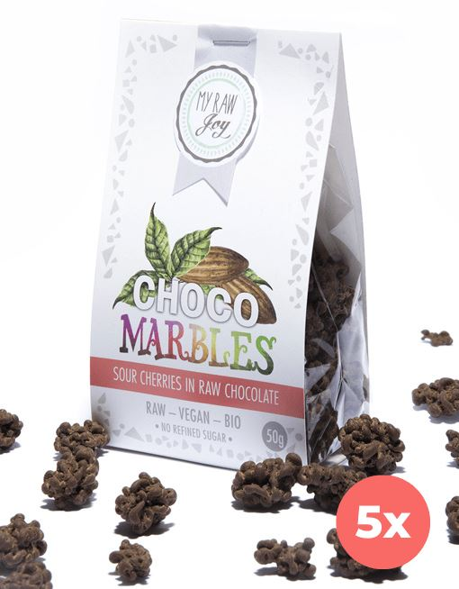 Choco Marbles - Sour Cherries Choco Marbles MyRawJoy 5 Bag Bundle Deal | €2.83 per Bag