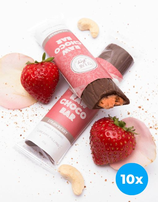 Cream Choco Bar - Strawberry Cream Cream Bars MyRawJoy 10 Bar Bundle Deal | €2.87 per Bar