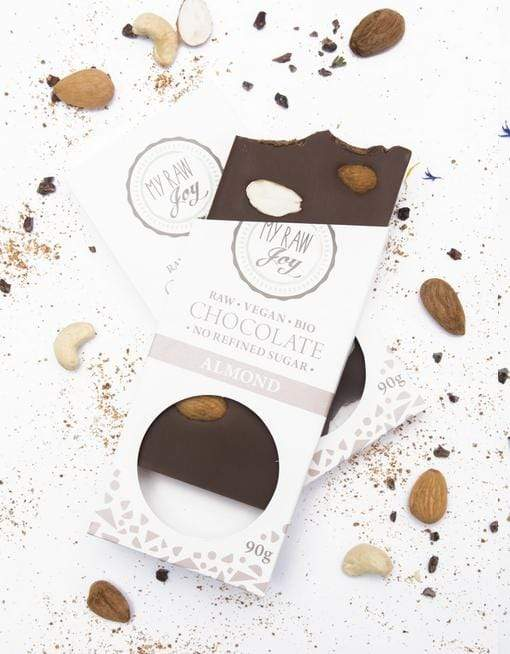 Raw Almond Chocolate - Big Raw Chocolates MyRawJoy 1 Bar