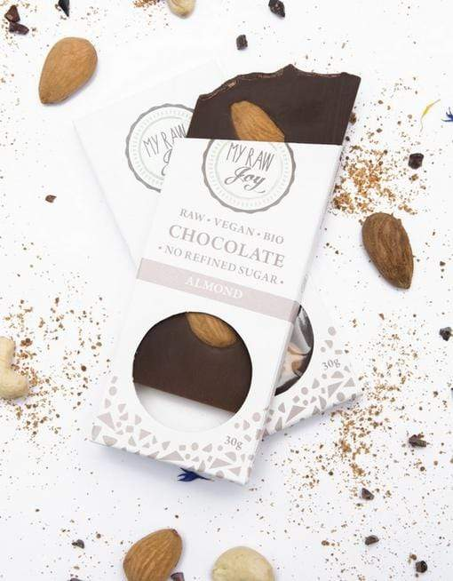Raw Almond Chocolate - Small Raw Chocolates MyRawJoy 1 Bar