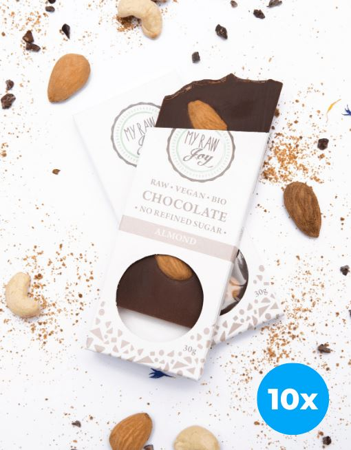 Raw Almond Chocolate - Small Raw Chocolates MyRawJoy 10 Bar Bundle Deal | €2.49 per Bar