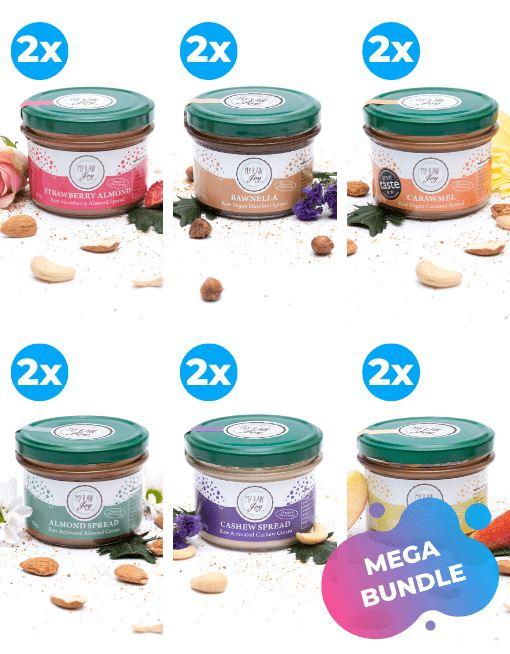 Raw Carawmel Spread Raw spreads & nutbutters MyRawJoy MEGA MIX | 12 JARS - 2 OF EACH FLAVOUR | €9.12 PER JAR