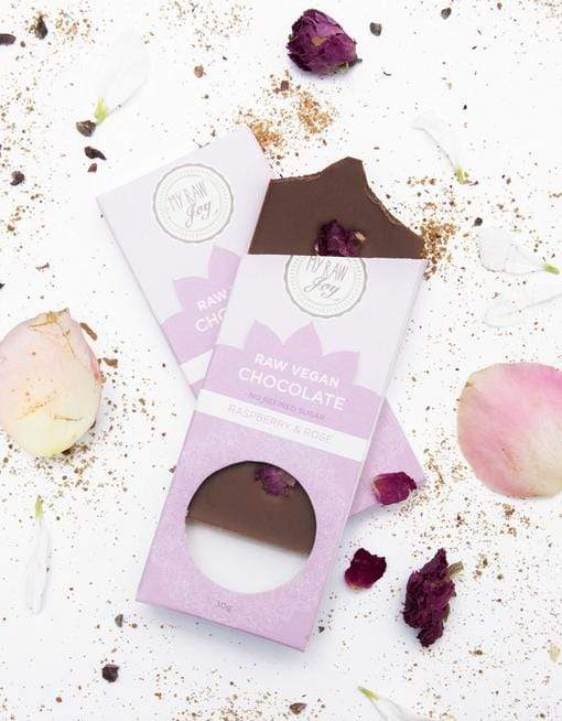 Raw Chocolate- Raspberry & Rose - Small Raw Chocolates MyRawJoy 1 Bar