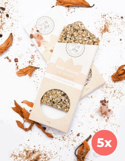 Raw Chocolate - Salted Carawmel - Small Raw Chocolates MyRawJoy 5 Bar Bundle Deal | €2.83 per Bar