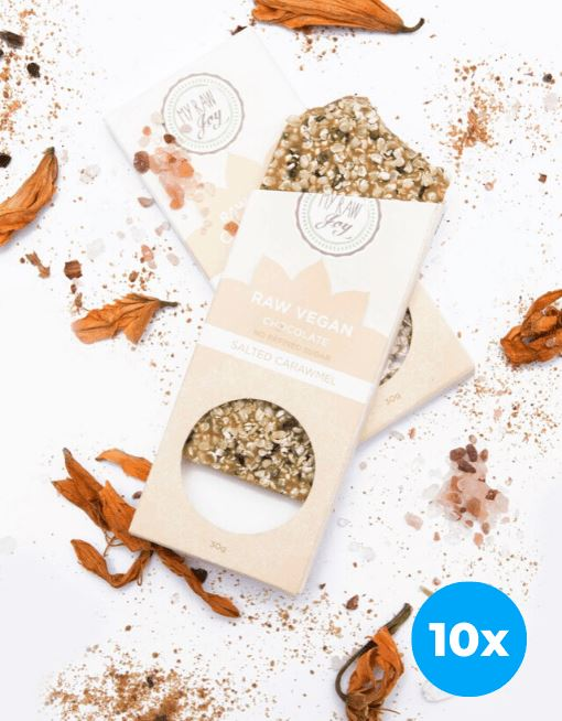 Raw Chocolate - Salted Carawmel - Small Raw Chocolates MyRawJoy 10 Bar Bundle Deal | €2.77 per Bar