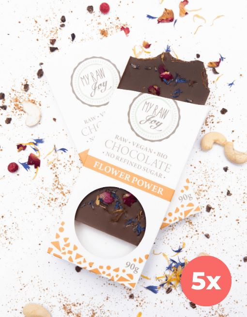 Raw Flower Power Chocolate - Big Raw Chocolates MyRawJoy 5 Bag Bundle Deal | €4.79 per Bar
