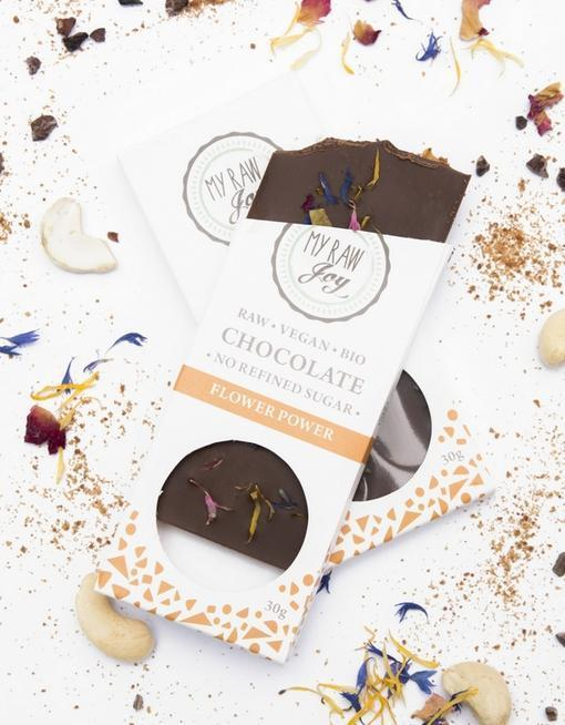 Raw Flower Power Chocolate - Small Raw Chocolates MyRawJoy 1 Bar