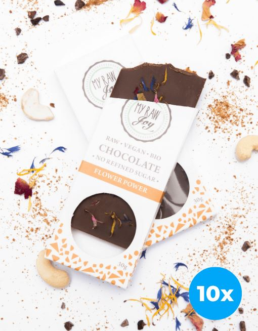 Raw Flower Power Chocolate - Small Raw Chocolates MyRawJoy 10 Bar Bundle Deal | €2.49 per Bar
