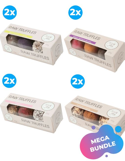 Raw Gourmet TRUFFLES - White Deluxe Raw Gourmet Truffles MyRawJoy MEGA MIX | 8 BOXES - 2 OF EACH FLAVOUR | €2.87 PER BOX