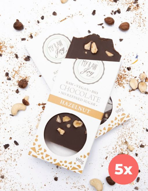 Raw Hazelnut Chocolate - Big Raw Chocolates MyRawJoy 5 Bag Bundle Deal | €4.79 per Bar
