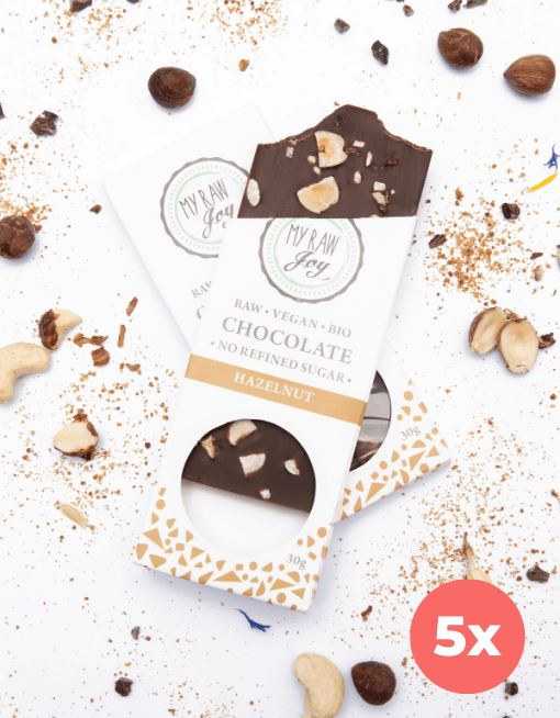 Raw Hazelnut Chocolate - Small Raw Chocolates MyRawJoy 5 Bar Bundle Deal | €2.54 per Bar