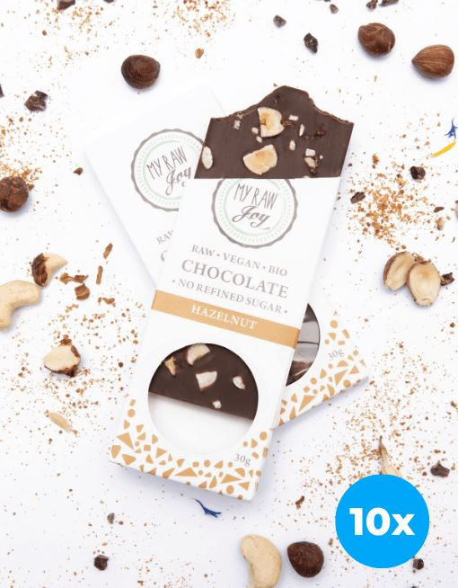 Raw Hazelnut Chocolate - Small Raw Chocolates MyRawJoy 10 Bar Bundle Deal | €2.49 per Bar