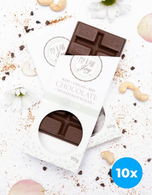 Raw Plain Chocolate - Big Raw Chocolates MyRawJoy 10 Bag Bundle Deal | €4.69 per Bar