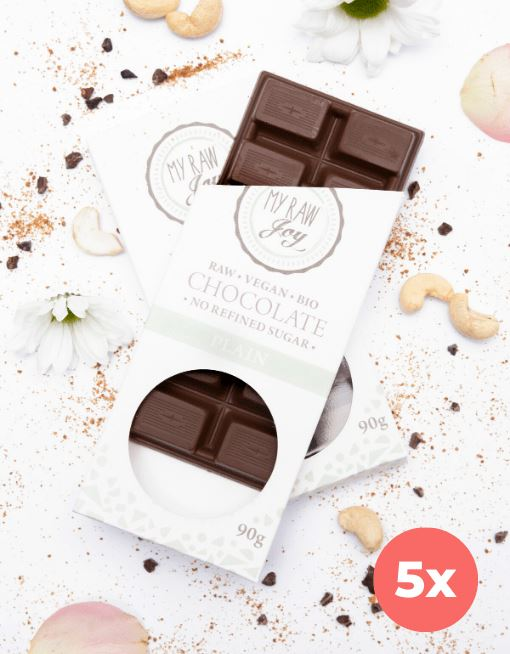 Raw Plain Chocolate - Big Raw Chocolates MyRawJoy 5 Bag Bundle Deal | €4.79 per Bar
