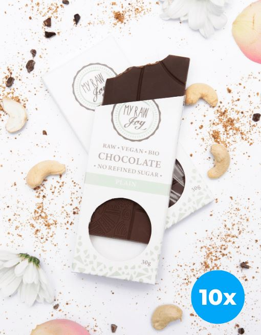 Raw Plain Chocolate - Small Raw Chocolates MyRawJoy 10 Bar Bundle Deal | €2.49 per Bar