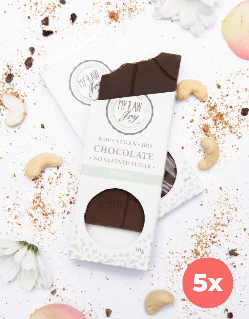 Raw Plain Chocolate - Small Raw Chocolates MyRawJoy 5 Bar Bundle Deal | €2.54 per Bar