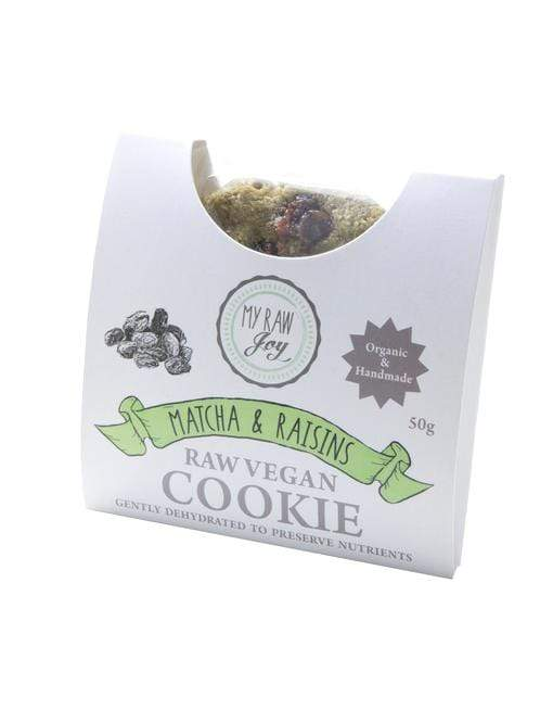 Raw Superfood Cookie - Matcha & Raisins Nutritious Cookies MyRawJoy