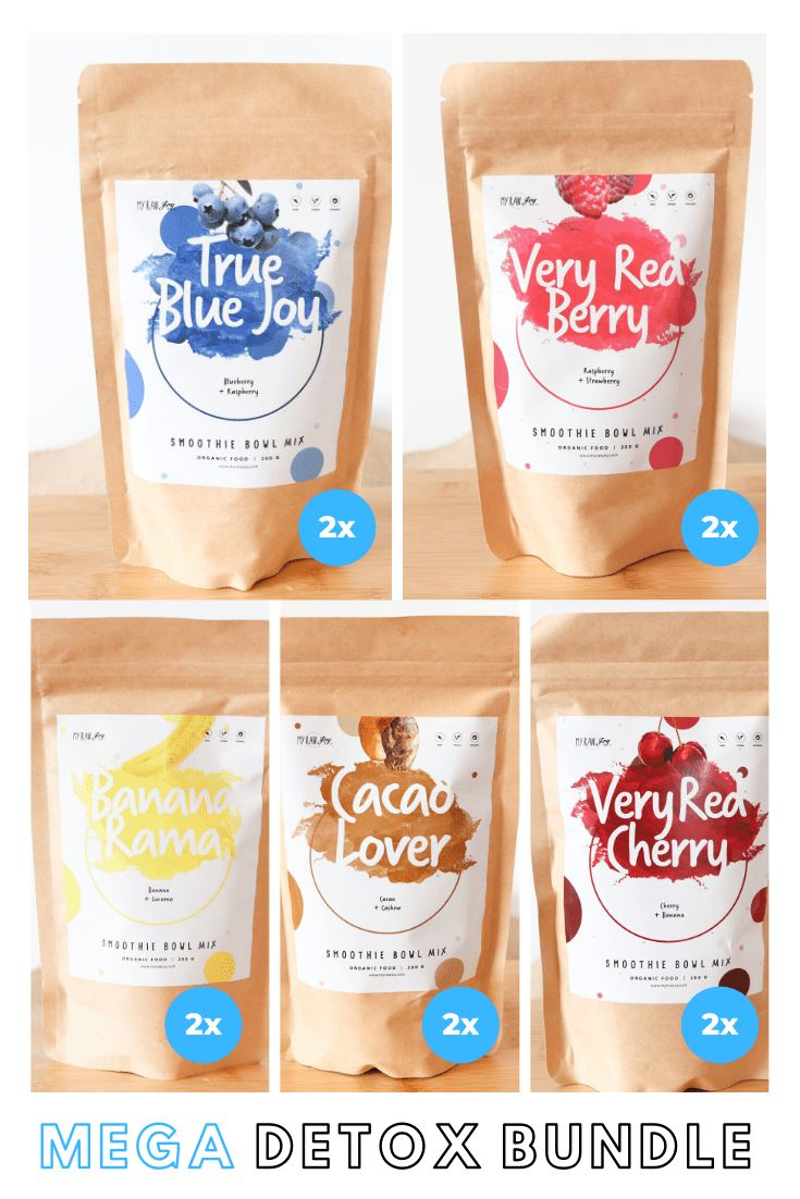 True Blue Joy Smoothie Bowl + Porridge Topping Smoothie Bowls Mix + Porridge Toppings MyRawJoy Mega Detox Bundle | 2x each flavour (10 Bags)| €8.53 per bag
