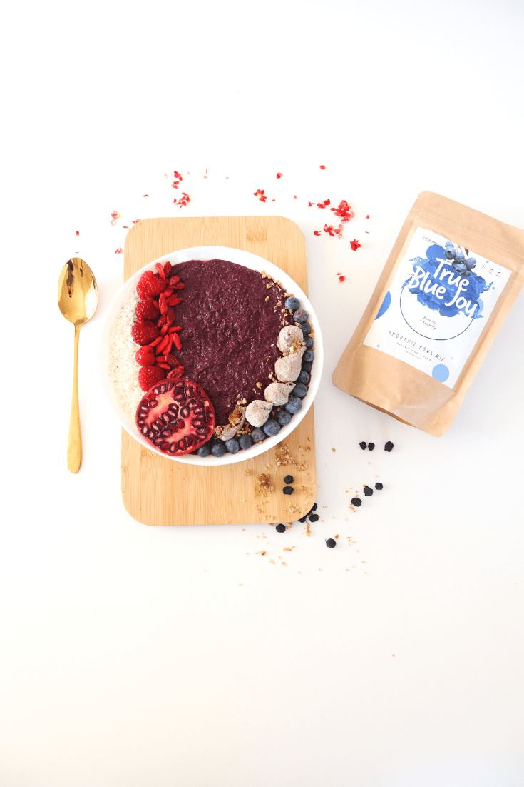 True Blue Joy Smoothie Bowl + Porridge Topping Smoothie Bowls Mix + Porridge Toppings MyRawJoy
