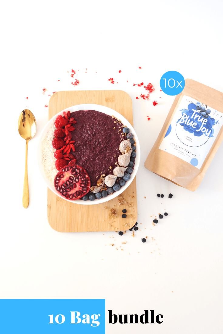 True Blue Joy Smoothie Bowl + Porridge Topping Smoothie Bowls Mix + Porridge Toppings MyRawJoy 10 Bag Bundle deal | €8.53 per bag