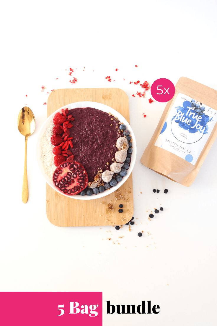 True Blue Joy Smoothie Bowl + Porridge Topping Smoothie Bowls Mix + Porridge Toppings MyRawJoy 5 Bag Bundle deal | €8.71 per bag