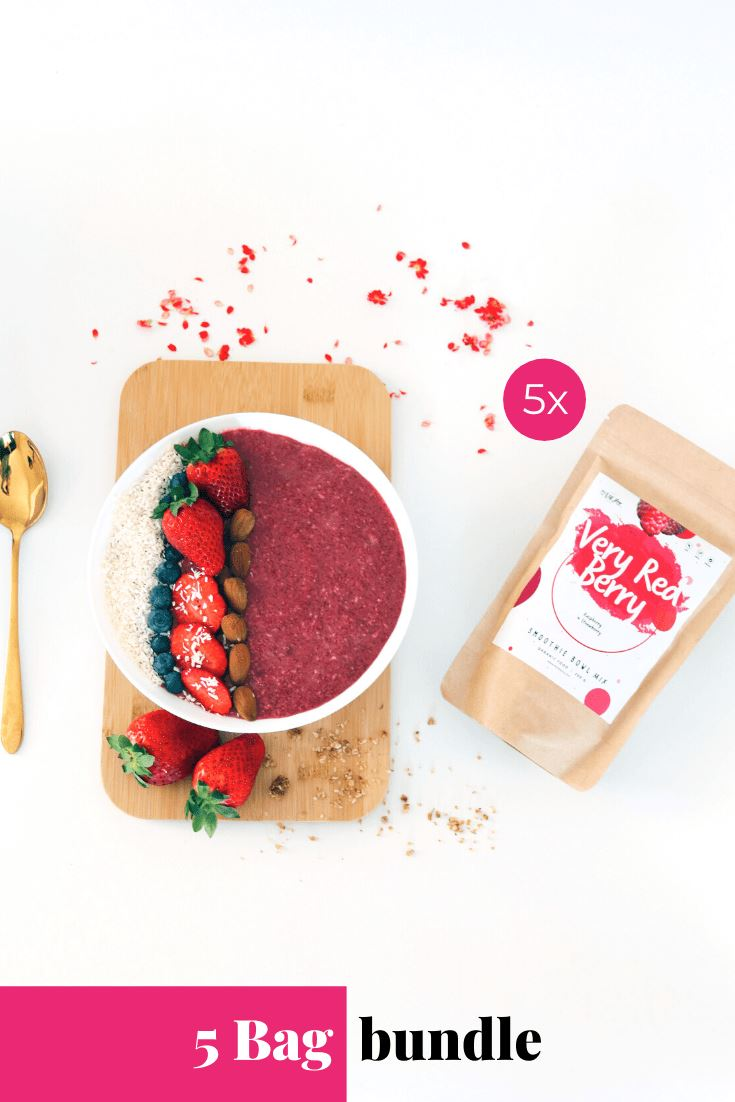 Very Red Berry Smoothie Bowl + Porridge Topping Smoothie Bowls Mix + Porridge Toppings MyRawJoy 5 Bag Bundle deal | €8.71 per bag