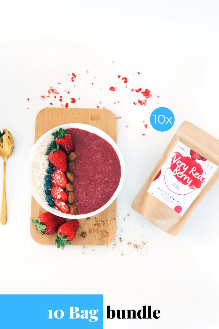 Very Red Berry Smoothie Bowl + Porridge Topping Smoothie Bowls Mix + Porridge Toppings MyRawJoy 10 Bag Bundle deal | €8.53 per bag