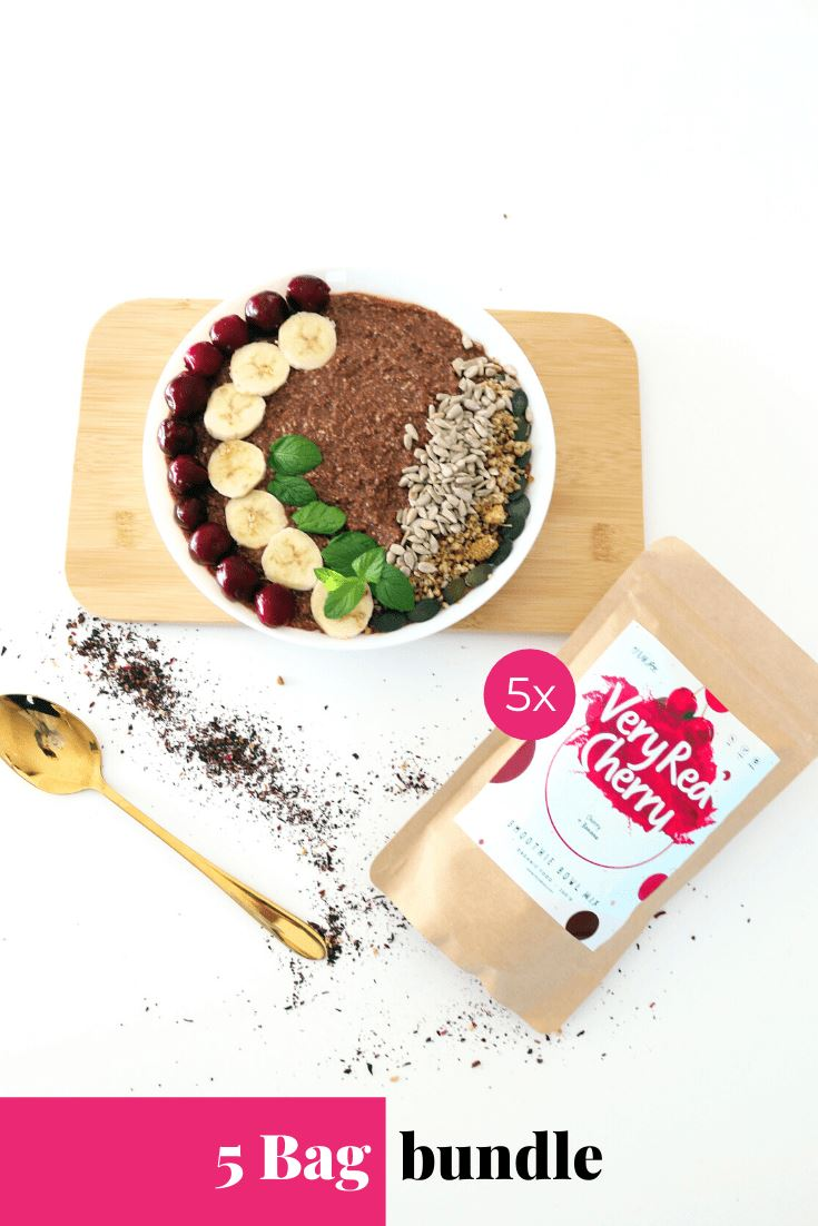 Very Red Cherry Smoothie Bowl + Porridge Topping Smoothie Bowls Mix + Porridge Toppings MyRawJoy 5 Bag Bundle deal | €8.71 per bag