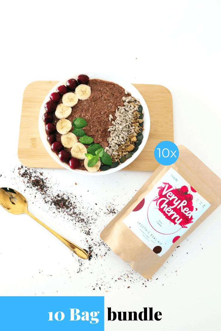 Very Red Cherry Smoothie Bowl + Porridge Topping Smoothie Bowls Mix + Porridge Toppings MyRawJoy 10 Bag Bundle deal | €8.53 per bag