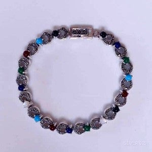 Anita Sterling Silver Marcasite & Coloured Ball Bracelet (4 colours)