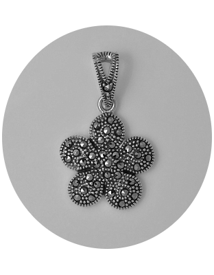 Delia Sterling Silver Signity Swiss Marcasite Pendant